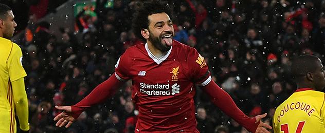 Mohamed Salah celebrates scoring